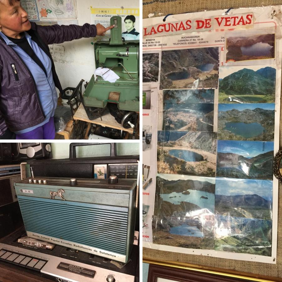 Radio antiguo, maquina de coser y fotografías de las lagunas de Vetas en el museo | Páramo Santurbán - Berlín, Tona - Santander Colombia